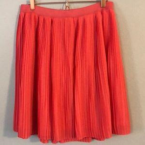 [Merona] Neon Coral Pleated Full A-line Skirt